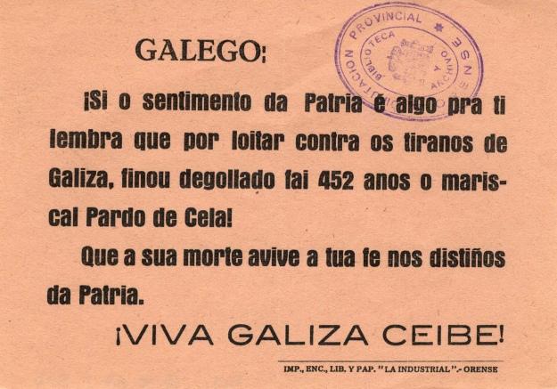 Panfleto do PG impreso en Ourense
